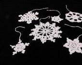 White Snowflake Ornaments, Crochet, Decorations, Set of 6, Handmade, Holiday Decor, Home Decor, Christmas Ornaments