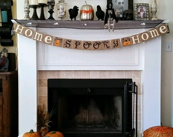 Halloween Banner Home Spooky Home Decor Garland Halloween Party Halloween Decoration Orange and Black Fall Decor