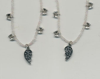 Best friend Necklaces, with butterfly charm beads