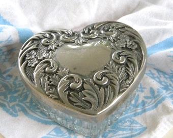 Silver Heart Trinket Box Unmarked Victorian Flourishes