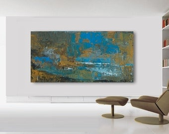 "80""x44"" ABSTRACT PAINTING,ORIGINAL, Landscape, Large painting, Acrylic on canvas"