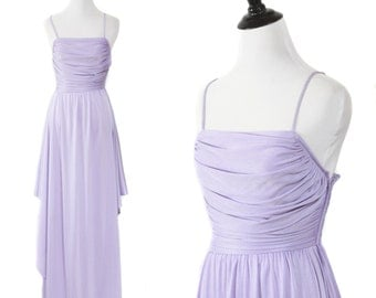 Vintage 70s Lavander Purple Spaghetti Strap Maxi Disco Formal Goddess Dress with Side Slit XS