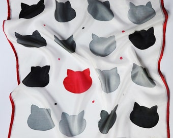 Cat silk scarf, Cat fan gift, Minimal accessory, Kitten scarf, Gray and red scarf, Black cat scarf, Gift for her, Cat gift