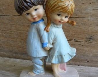 1971 Fran Mar Moppets Figurine / Made in Japan / Boy & Girl Moppets Figurine