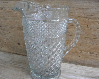 Vintage Anchor Hocking Wexford Large Glass Pitcher / Wexford Pattern Pitcher / 64 ounce Glass Pitcher