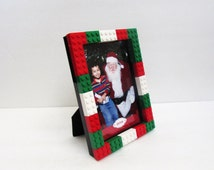 Christmas Lego® Picture Frame 4 x 6 or 5 x 7, Photo Frame, Family Photos, Holiday Season Pictures