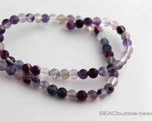 "Fluorite Round 6mm Smooth Beads, Semi Precious Gemstone Beads x 39cm (approx 15"") strand GEM021"