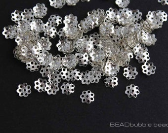 Small 6mm Bead Caps Silver Plated Flower x 5g (approx 200 bead caps) FIN228