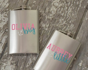 Little Big Sorority Anchor Flask Personalized - 8oz Pair