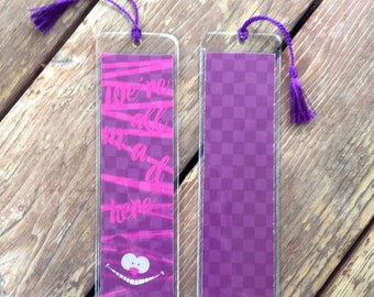 Bookmark- Alice in Wonderland. Cheshire Cat.  We're all mad here. Book quote bookmark. Book theme bookmark. Chesher cat bookmark.