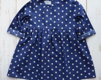 Girls Dress Dots Print Bottom Frill Long Sleeve Navy/Beige