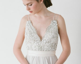 Alexandra // A Dove Grey Dress With Hand Beaded Lace and Double Straps.