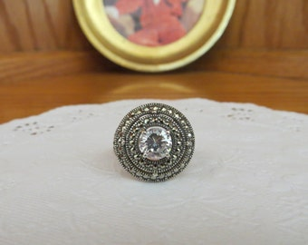 Sterling Silver Halo Circle of Life Marcasite Crystal Ring Size 8