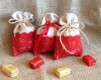 Lace favor bags, 15 bags, Rustic Favor bags, wedding favors, lace bags, red, beige, favor bags, rustic chic favor bags, cotton gauze bags