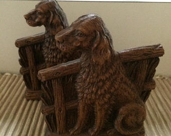 Vintage Syroco Spaniel Dog Bookends