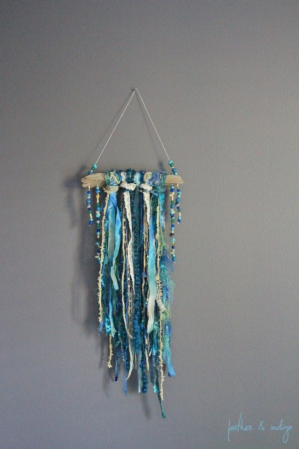 Wall Decoration Cloth : Teal blue wall decor driftwood art textile hanging fabric