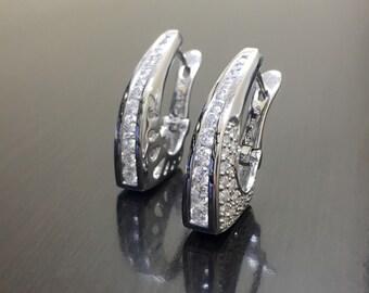 18K White Gold Diamond Earrings - Art Deco 18K Gold Diamond Hoop Earrings - 18K Gold Hoop Earrings - Diamond Gold Earrings - 18K Gold Hoops