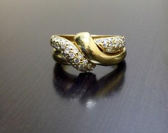 18K Yellow Gold Diamond Engagement Band - 18K Gold Pave Diamond Wedding Band - Pave Diamond Band - 18K Yellow Gold Band - Art Deco Gold Band