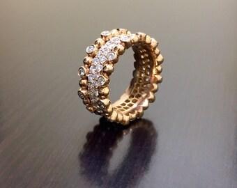 14K Rose Gold Eternity Diamond Engagement Band - 14K Gold Diamond Wedding Band - Rose Gold Diamond Eternity Band - Eternity Diamond Band