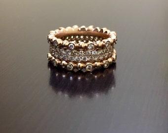 18K Rose Gold Diamond Eternity Band - Rose Gold Diamond Band - 18K Rose Gold Band - Rose Gold Engagement Ring - 18K Diamond Wedding Band