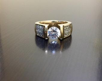 14K Yellow Gold Tension Set Diamond Engagement Ring - 14K Gold Princess Cut Diamond Wedding Ring - Invisible Set Diamond Ring - Gold Ring