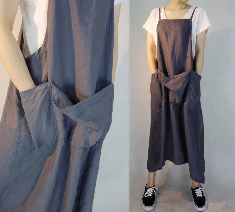 Blue apron nz - 296 Linen Pinafore Work Apron Dress Green Overall Dress Linen Tunic Plus Size Clothing Women S Linen Maxi Dress Maternity