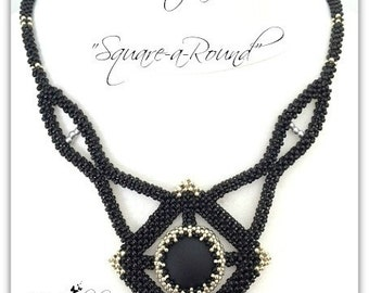 """Kit and tutorial Necklace: """"Square-a-Round"""" in English"""