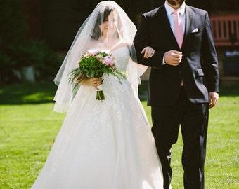Double layer Fingertip length Wedding Bridal Veil white, ivory, Wedding veil bridal Veil Fingertip length veil bridal veil cut veil
