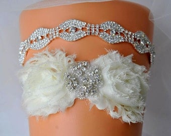 Bridal Rhinestone Garter Set Wedding Ivory White Shabby Chic Rhinestone Garter,Wedding Garter Set, Bridal Garter Set, Vintage Lace Garter