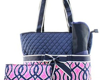 Personalized Vine Quilted Diaper Bag 3 Piece Set, Custom Diaper Bag, Personalized Diaper Bag, monogrammed diaper bag, Modern Diaper Bag