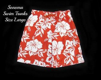 Men's swim trunks, swim shorts, surf shorts, men's summer shorts,  swim trunks,  size large,   # 245