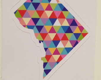 Vinyl Sticker - Washington D.C. Colorful Hipster Geometric Triangles DC District of Columbia USA Capitol  - Laptop Sticker - Bumper sticker