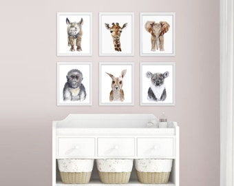 Baby Animal Nursery Art - Zoo Nursery Prints - Zoo Animals - Baby Wall Art - Gender Neutral Nursery Decor - Baby Boy - Baby Girl - Baby Gift