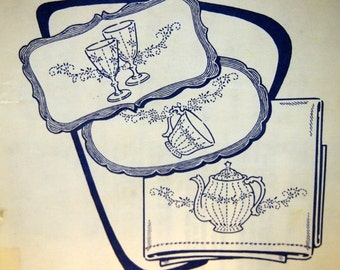 Dishes For Tea Towels By Aunt Martha's Hot Iron Transfer 3661 Embroidery Pattern Unused 2000s