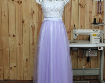 2016 Lavender Bridesmaid dress, Lace Wedding dress, Formal dress, Tulle Prom Dress, Evening dress floor length