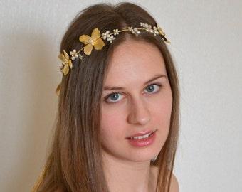 Gold freshwater pearl bridal hair wreath, Wedding halo, freshwater pearl halo, Floral vine, Freshwater pearl halo,gold wedding halo