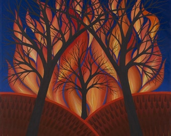Pyrolatria, fine art print, fire with silhouetted trees