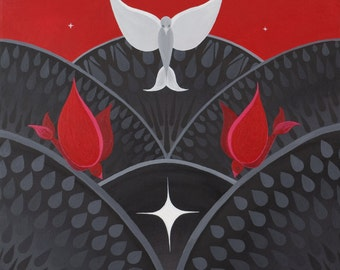 Red Birds on Black, fine art print