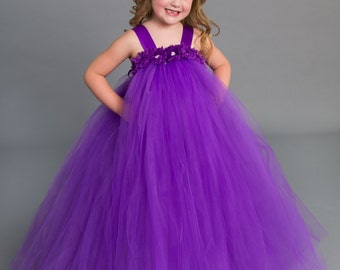 Flower girl dress - tutu dress - tulle dress - empire dress - Infant/Toddler - Pageant dress - wedding - Princess dress -Purple flower dress