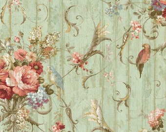 Shabby Cottage Garden Wallpaper - Birds, Lavish Country Floral, Green Distressed, Crackled, Weathered Wood Plank - By The Yard - HA1326so