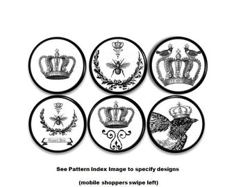 Country French Crowned Queen Bee Dresser Drawer Knob - Black and White, Raven, Crow, Crown, Bees - Cabinet Door Pull - 115E6