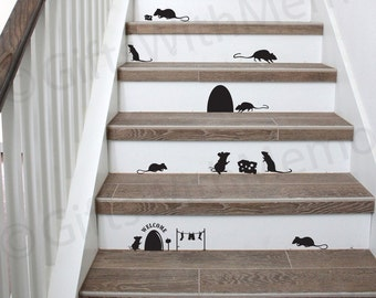 Set of 11 Mice Silhouettes Stickers - Mouse with Cheese Decal - Halloween Decor - Staircase Decals