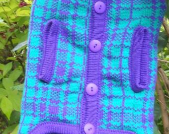 Knitted  Dog Jumper/Sweater - Tartan - Handmade