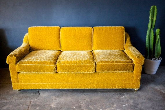 Vintage Gold Yellow Velvet Sofa Couch Loveseat Pull Out  Mid Century