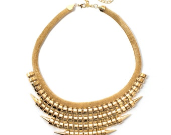 Gold Punk Rock Statement Necklace