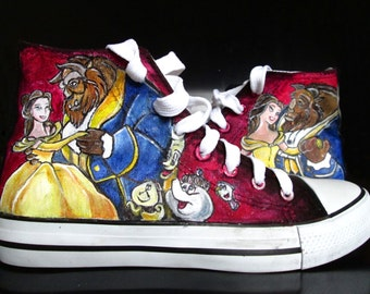 Custom handpainted sneakers, Beauty and the Beast Fanart Shoes, personalized shoes