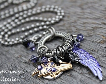 Baltimore Ravens Necklace, Ravens Jewelry, Ravens Fan Wear, Ravens Gift