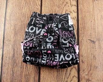 Newborn Cloth Diaper - Newborn AI2 Diaper - Newborn Diaper Cover - All In Two - Pink Heart Cloth Diaper - Love Diaper - Black Newborn Diaper