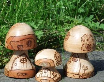 Wooden Mushroom Fairy House
