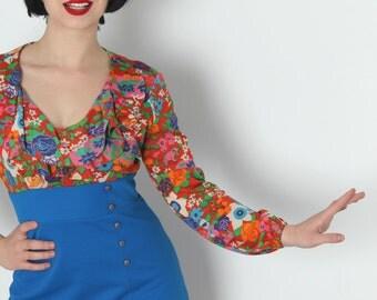 60s Mod Mini Dress in Psychedelic Orange Rust Floral Print & Blue Polyester // Marcia Brady, Twiggy, Pattie Boyd, Swinging London Fashion